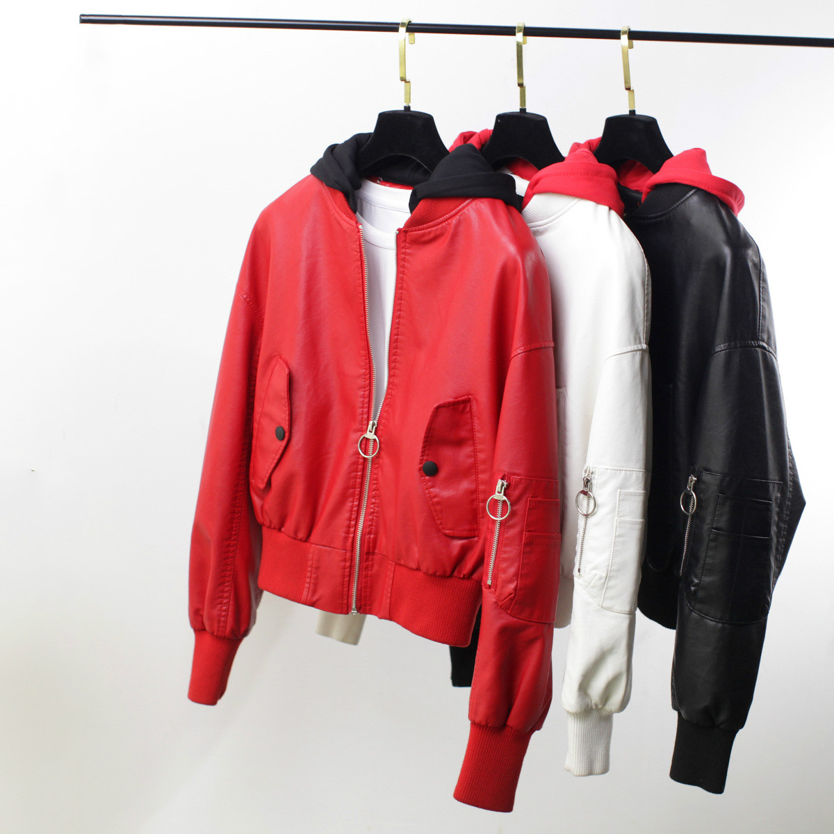 Women Autumn Hooded PU Faux   Leather   Jacket Female Baseball Uniform Long Sleeve Loose Short Jacket Girls Motorcycle Coat Fashion