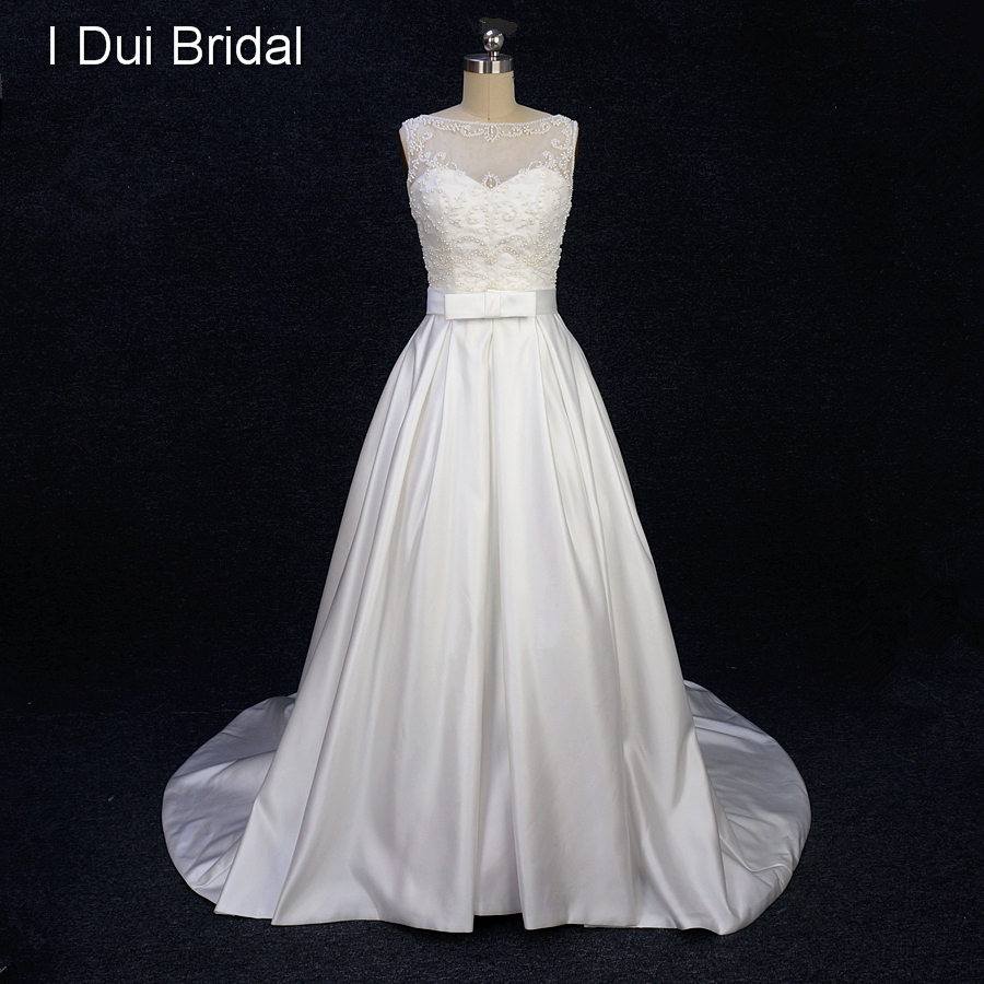 A Line Satin Pearl Beaded Wedding Dress With Bow Tie Belt