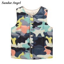 Sundae Angel Winter girl vest thick Long Sleeve Camouflage vest kids Baby boy Outerwear Coats Children Waistcoat Clothes 12M-6T