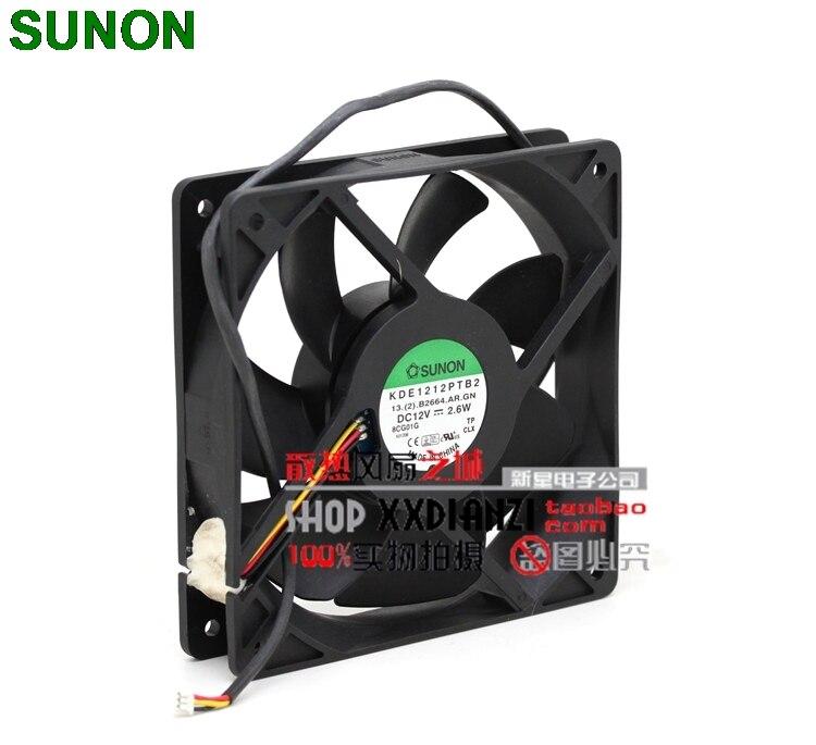 Sunon KDE1212PTB2 12025 12V 2.6W three wire fan stall warning pl 12025 w