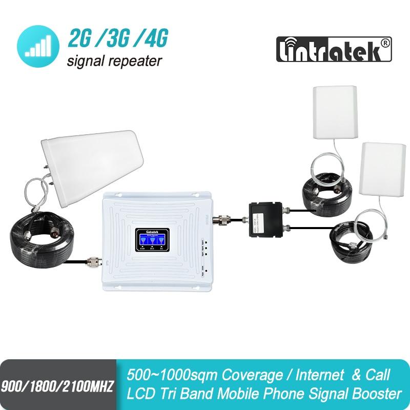 Lintratek Grande Cobertura Tri Band GSM 900 UMTS 2100 4G 1800 Celular Amplificador Repetidor de Sinal De Reforço Duas Antenas Indoor conjunto lte sinal de reforço móvel repetidor de sinal dcs sinal de celular Banda 3