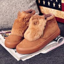 {D & H} MJ Marque Hiver Femmes chaussures plates Casual Chaussures à garder chaud Belle Oreilles De Fourrure Femmes haut-dessus toile chaussures Femme Livraison chaussettes