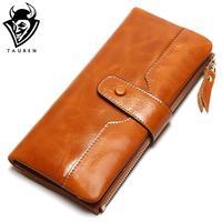 TAUREN 100 Genuine Leather Women Phone Wallet Long Purse Lady Oil Wax Cowhide Multiple Cards Holder