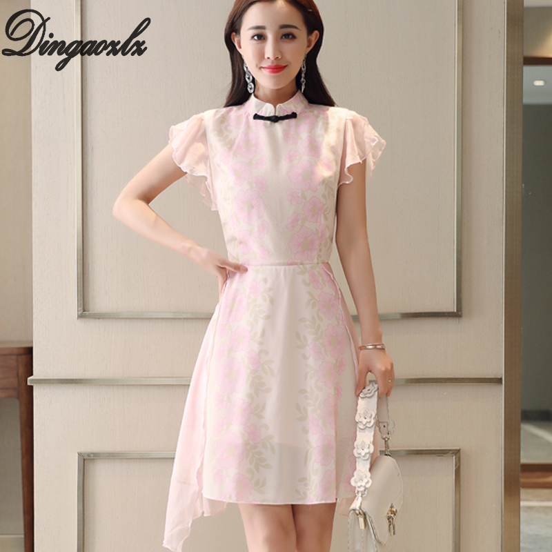 Dingaozlz 2018 new fashion chiffon dress elegant short sleeve ruffle printed casual women dress Vestidos Improved Cheongsam