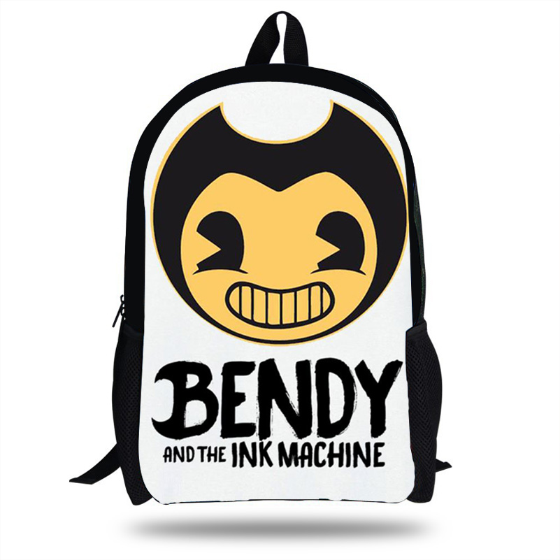 16 Inch Bendy and The Ink Machine Backpack Children School Bags Boys Girls