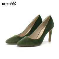 BUZIYUN So Kate Tam Sezon Kadınlar Günlük Faux Kürk Ayakkabı pompaları 8 cm Yüksek Topuklu Kadın Ofis Düğün Ince Topuklu 36-39 boyutu
