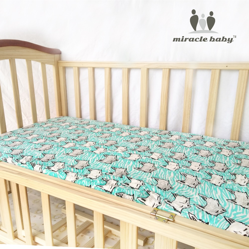 MIRACLE BABY 100 Cotton Muslin Fitted Crib 130x70cm infant Soft Set Mattress Cover Bedspeard Sheet Bedding