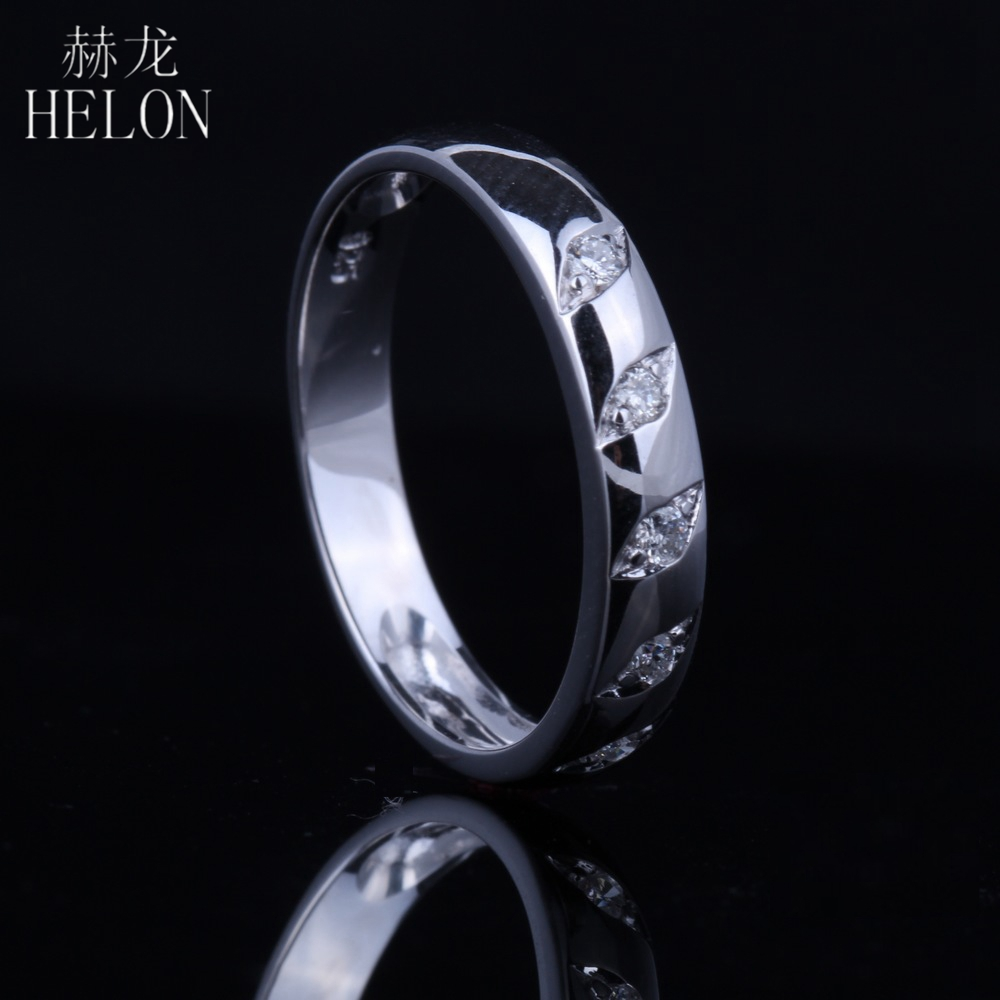 HELON Sterling Silver 925 Color white gold 100% Genuine AAA Graded Cubic Zirconia Engagement Wedding Ring Women Party Jewelry