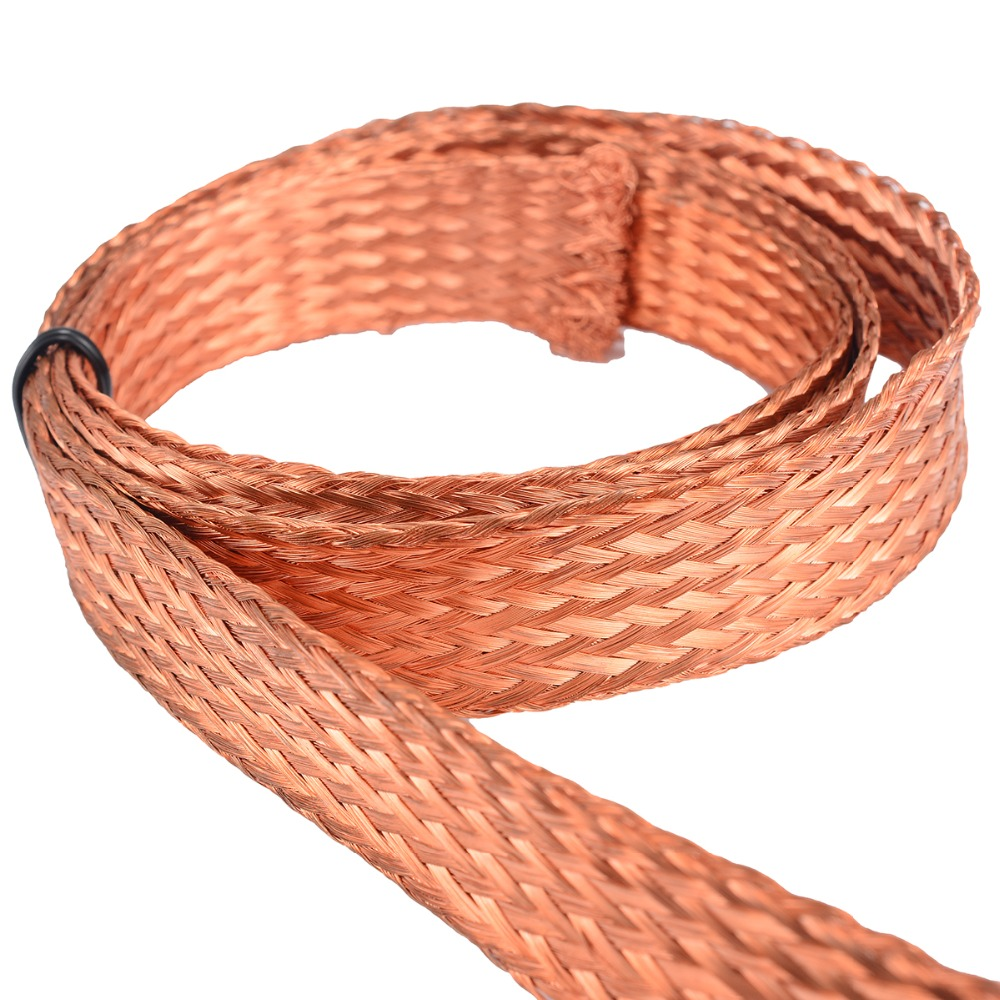 Pure Copper Flat Braid Cable 1m/3.3ft Length 15mm Width Bare Braid Wire For Connecting Ground Lead