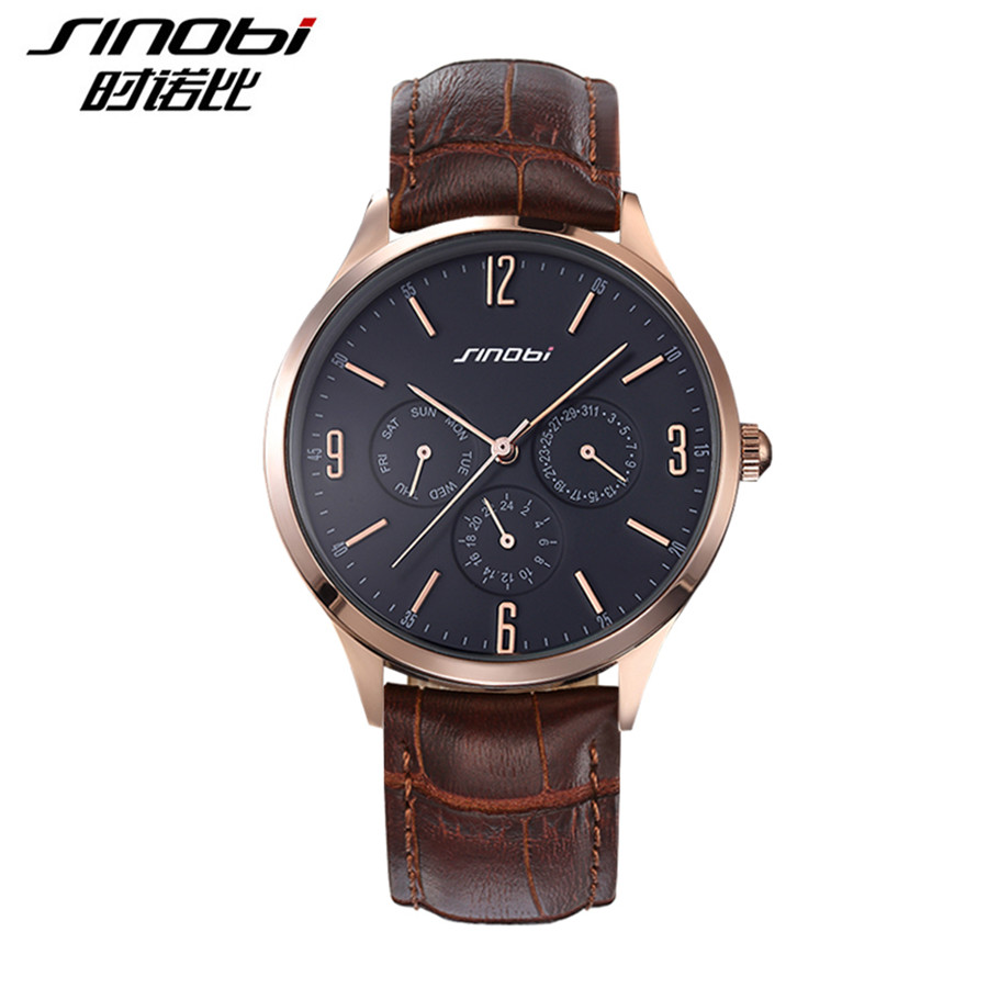 2016 Top Brand Quartz Watch Men Casual Business JAPAN SINOBI Relojes Hombre Ultra Slim Leather Analog Watches Mens Relogio Gift