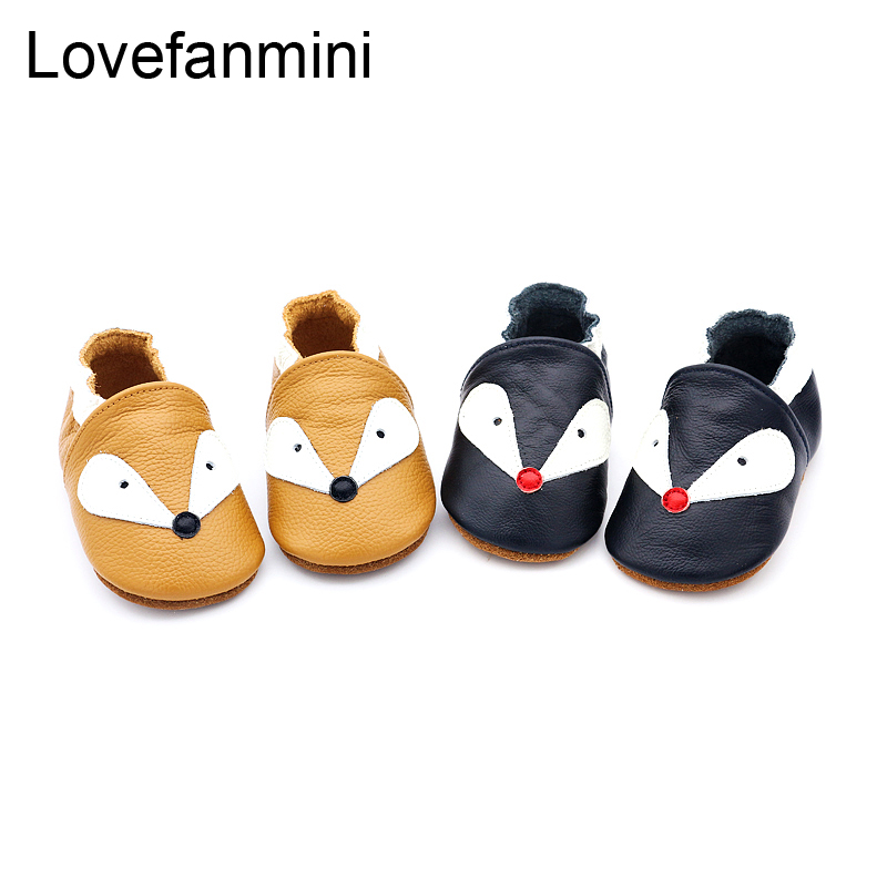 Baby Shoes Soft Genuine Cow Leather Baby Boys Girls Infant Toddler Moccasins Shoes Slippers First Walkers Non-slip Fox 103