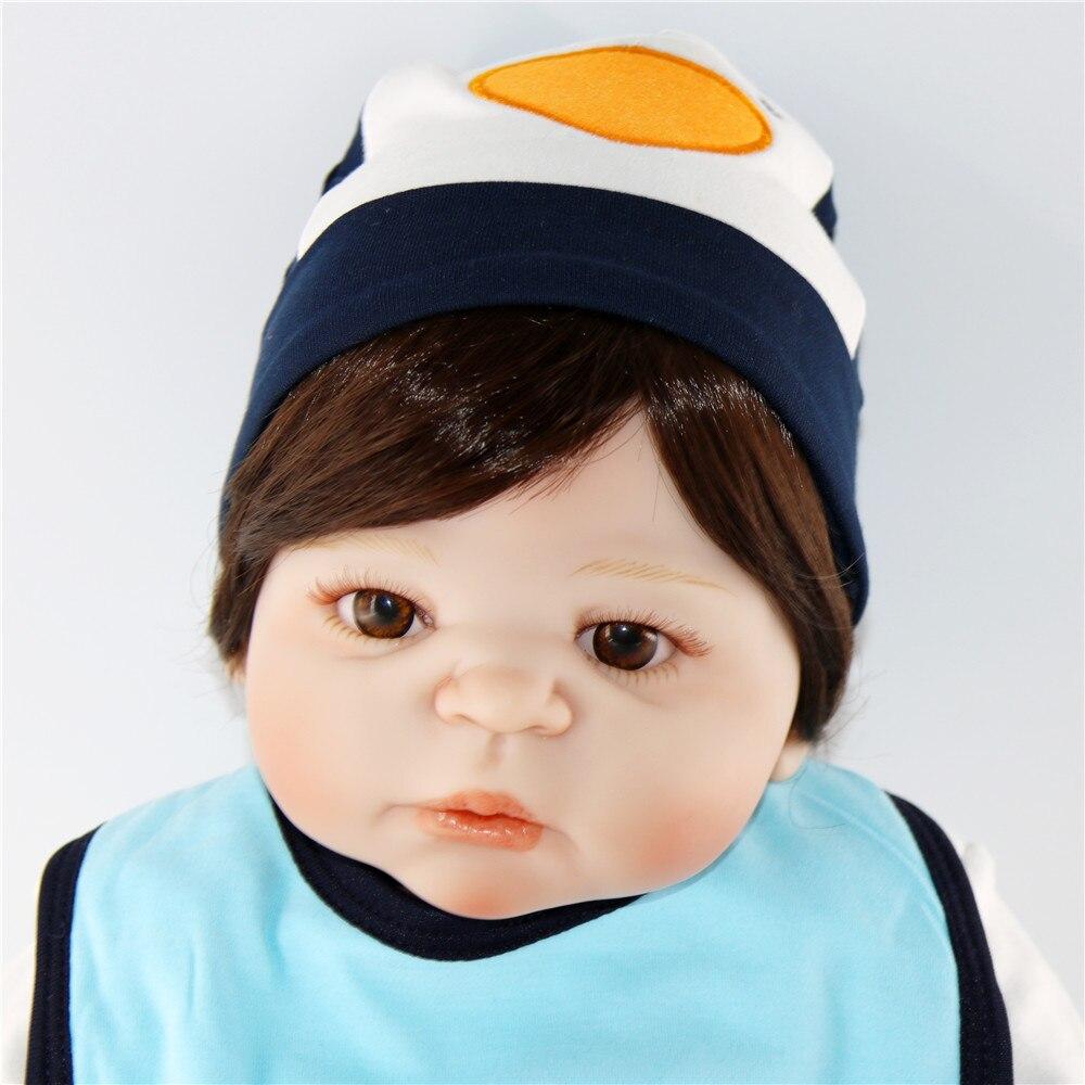 60 см силиконовые куклы Reborn Baby гладкие коричневые короткие волосы мальчик реалистичный хлопок тело Детские куклы мягкое прикосновение Дети ... - 6