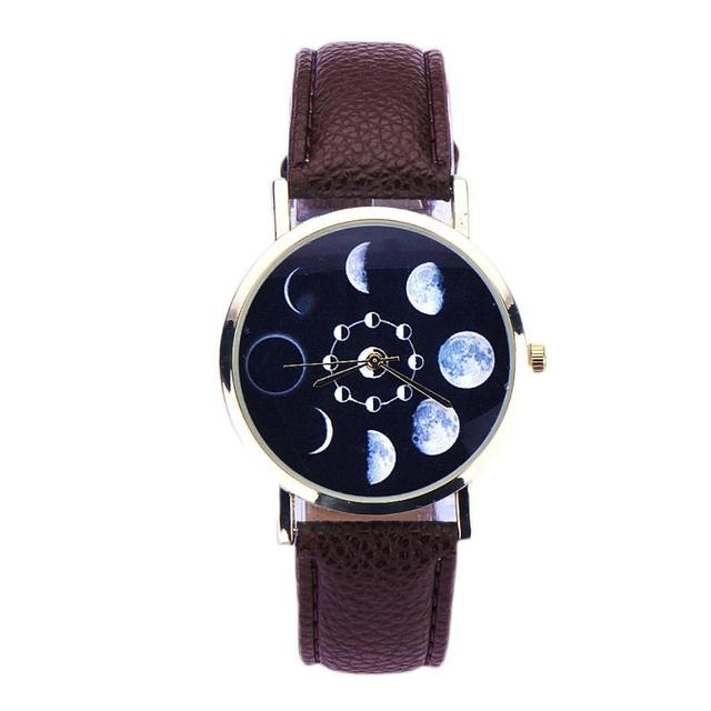 Digital Womens Wristwatch Lunar Eclipse Pattern Leather Analog Quartz Wrist Watch  watchs men popular Bracelet