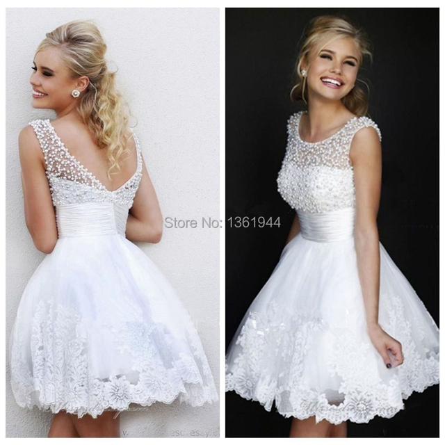 New Design A Line White Pearls Juniors Short Homecoming Dresses ...