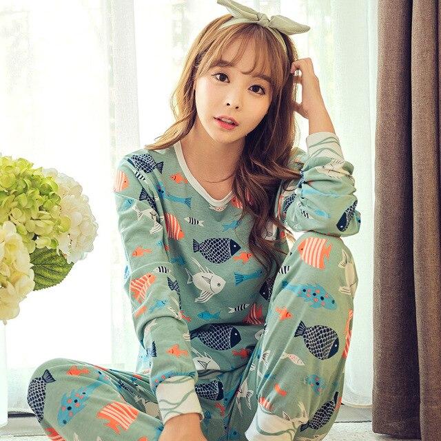 JRMISSLI Spring Autumn Womens Pajama Sets O-Neck Long Sleeve Women Sleepwear Pajamas girls nightgown for woman