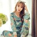 New hot 2016 Primavera Outono Conjuntos de Pijama Das Mulheres O Pescoço Mulheres Manga Comprida Pijamas Pijamas meninas camisola para a mulher frete grátis