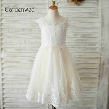 Gardenwed 2019 White Lace Flower Girl Dresses For Weddings Applique Sequin Birthday First Communion Dresses For Girls 2017 off shoulder white girls first communion dress lace applique floor length tulle flower girl dresses for weddings