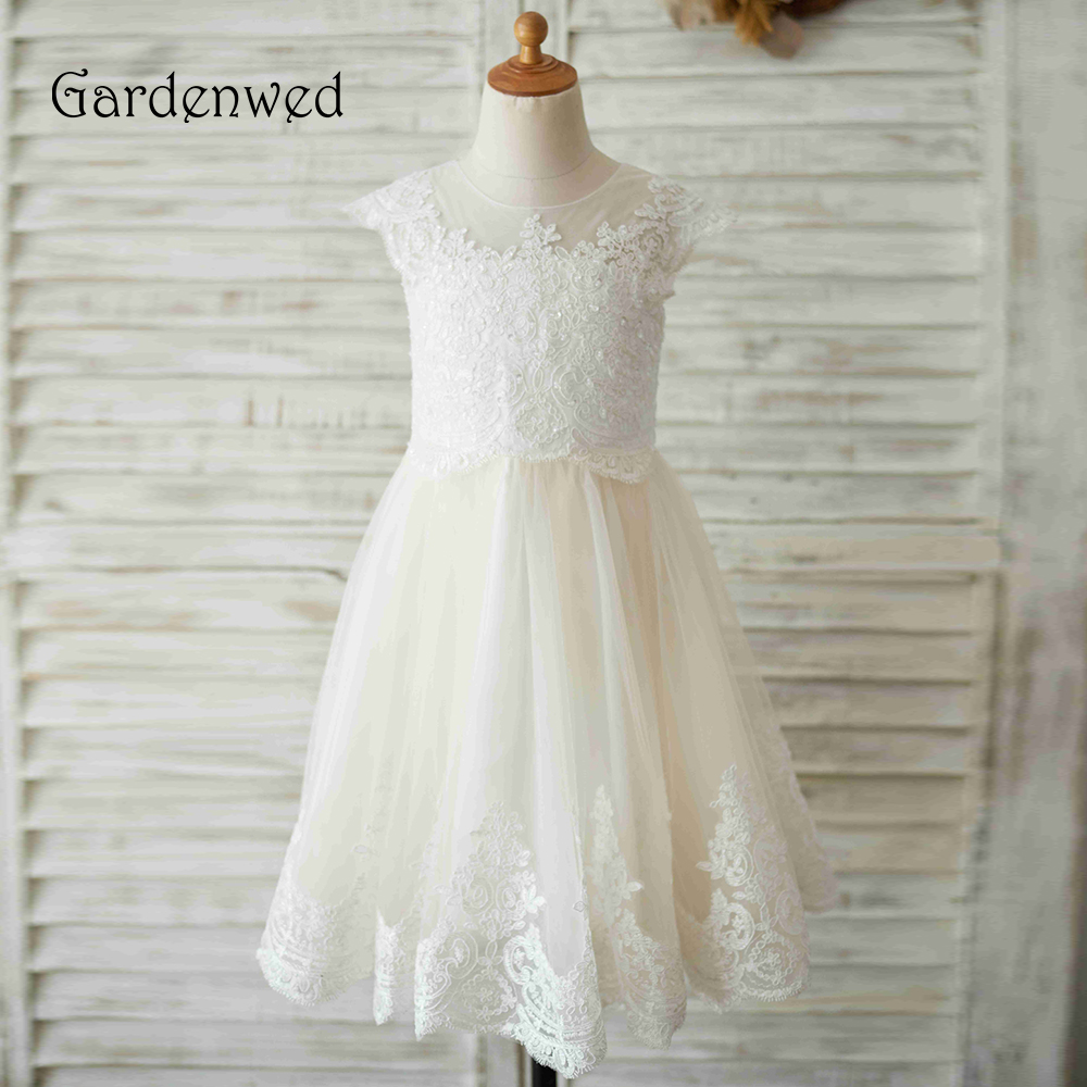 Gardenwed 2019 White Lace   Flower     Girl     Dresses   For Weddings Applique Sequin Birthday First Communion   Dresses   For   Girls
