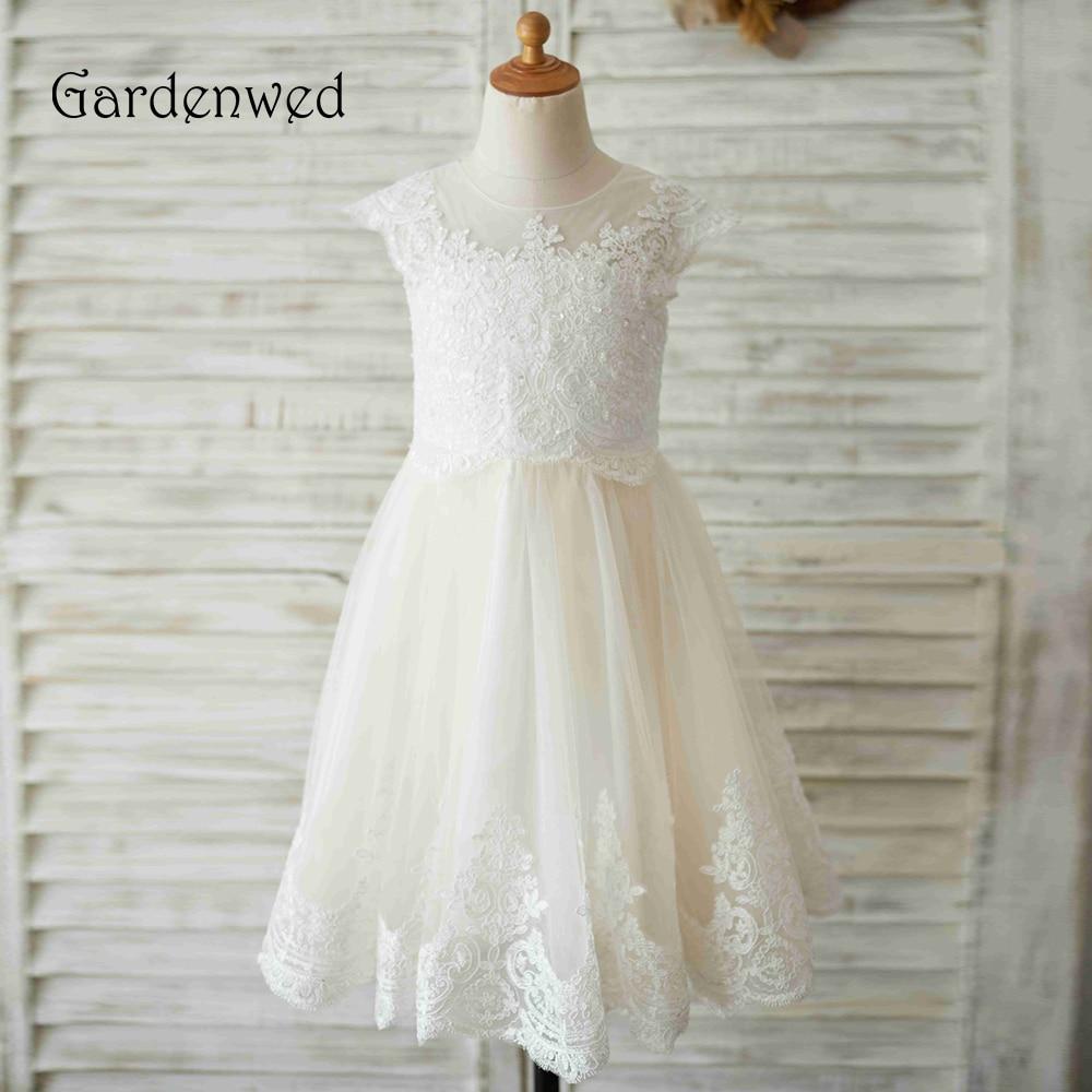 Gardenwed 2020 White Lace Flower Girl Dresses For Weddings Applique Sequin Birthday First Communion Dresses For Girls