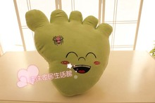 cute plush foot toy new creative green big foot pillow doll gift about 45x35cm