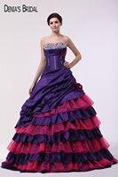 2017 de Color Rojo Púrpura Oscuro vestido de Bola Vestidos de Noche con Escote palabra de honor de Las Colmenas Con Cuentas Piso-Longitud vestidos de Baile Vestidos