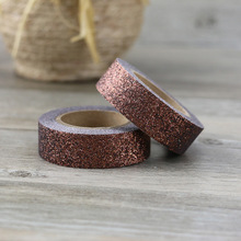 купить Brown Washi Tape Glitter Diy Stationery Decorative Tape Scrapbooking Photo Album School Tools Kawaii Scrapbook Paper по цене 71.53 рублей