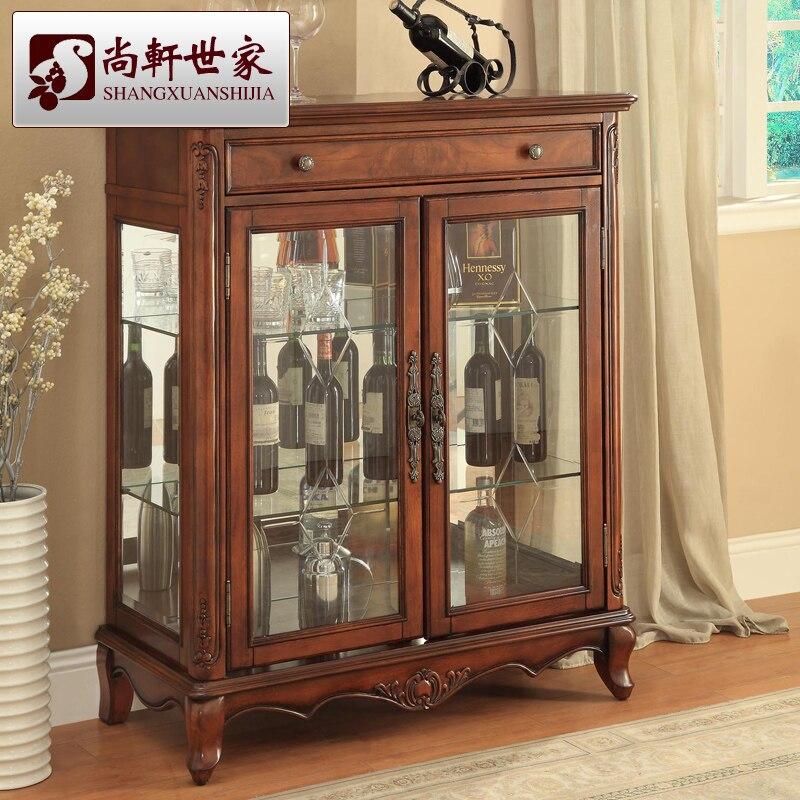 Style am ricain bois massif armoire vin moderne br ve Meuble bois moderne