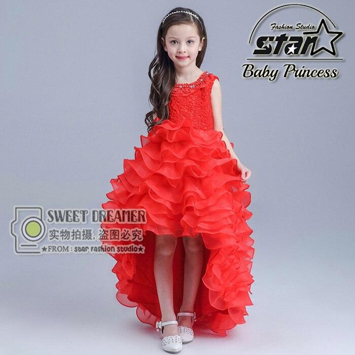 ФОТО 2016 New Summer Baby Girls Party Dress Evening Wear Long Tail Girls Clothes Elegant Flower Girl Dress Kids Baby Dresses