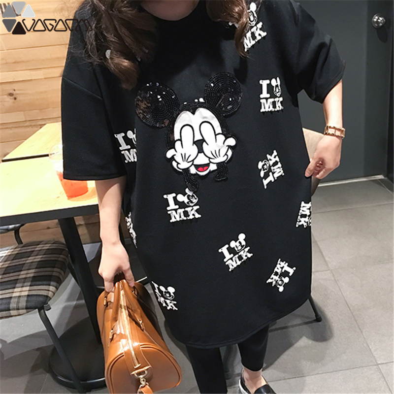 Women Mickey Mouse Dress Cartoon Mini Short Sleeve Summer Loose Midi Dresses Big Size Vestidos Black Mujer Clothes Pregnant in Dresses from Women 39 s Clothing