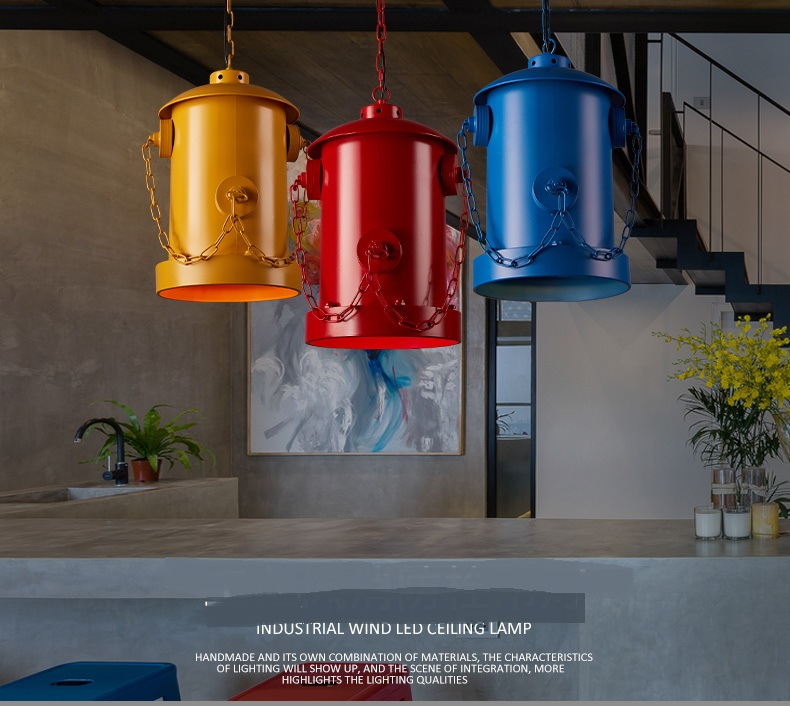 hydrant red pendant lamps Loft industrial wind pendant lights retro iron coffee bar creative personality art lighting fire GY280