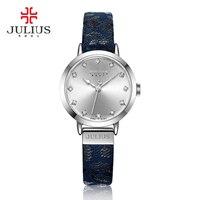 Julius Women Leopard Print Leather Bracelet Quartz Watch Waterproof 3ATM Dropship Supplier Diamond Retro Vintage Watches JA 976