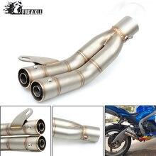 36-51MM Universal Motorcycle Double Exhaust Muffler Pipe escape moto For Suzuki SFV Gladius 650 GSF 600 1000 ABS SV TL 1000 S 36 51mm motorcycle universal exhaust pipe muffler for suzuki sv650 gsf katana hayabusa honda shadow 600 750 1100 cbr 125r