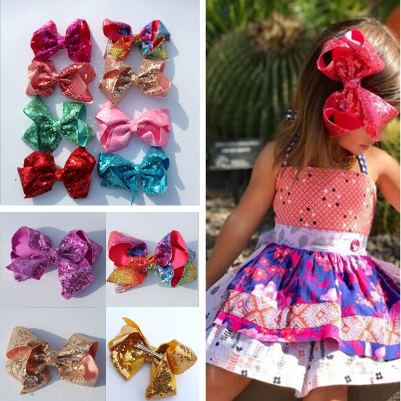 retail 6 Handmade Large Bling Sequin Rainbow Bows Hairgrips Sequin Hair Bows With Clips For Kids Girls Hair Accessories 1ps