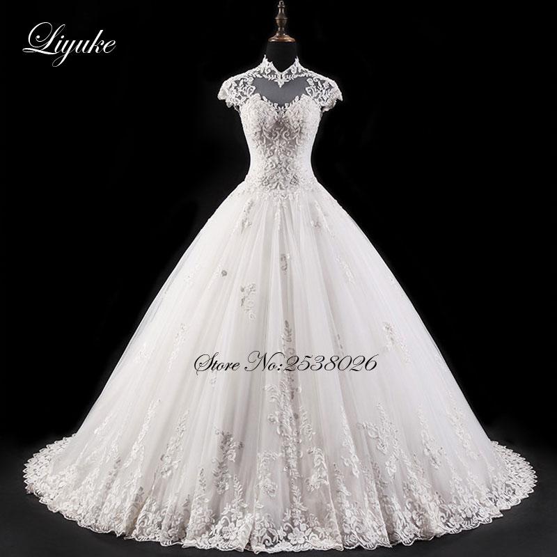 Elegant Backless Liyuke High Neckline Ball Gown Wedding Dress Symmetrically Appliques Court Train robe de mariage