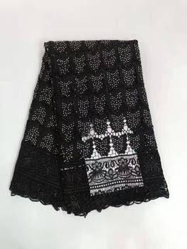 Latest African Guipure Lace Fabrics Embroidered High Quality Water Soluble Lace Black Color Cord Lace Fabric With Many Stones