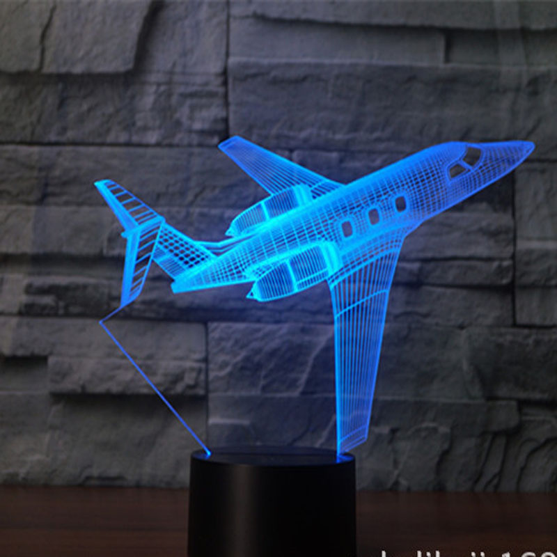 Airplane 3D Table Lamp LED Light Decoration Lights USB 3D Lights as Christmas Holiday Gifts image