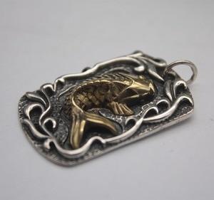 Fine S999 серебряный кулон Золотая рыбка удача узор богатство для мужчин ожерелье 19,6 'l 3mmmw модные новые ювелирные изделия