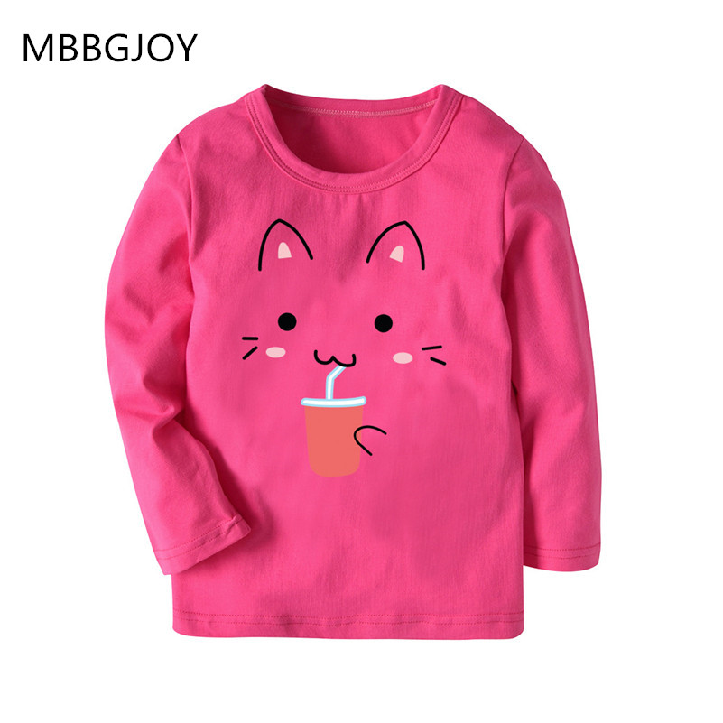 MBBGJOY 2-7Y Girls Tops Children Tshirts Girls Tees Long Sleeve Striped T-shirts Kids Wear Girl Clothes Cartoon Cat