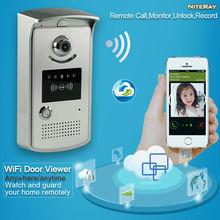 Cámara de la puerta de intercomunicación wifi espectador de la puerta de grabación timbre wifi 720 p de vídeo de intercomunicación teléfono de la puerta rfid a prueba de agua