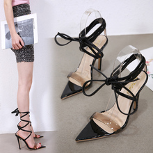 Liren 2019 Summer Fashion Sexy Lady Cross-tie Lace-up Gladiator Sandals Women Party Shoes Pointed Toe High Heels Open