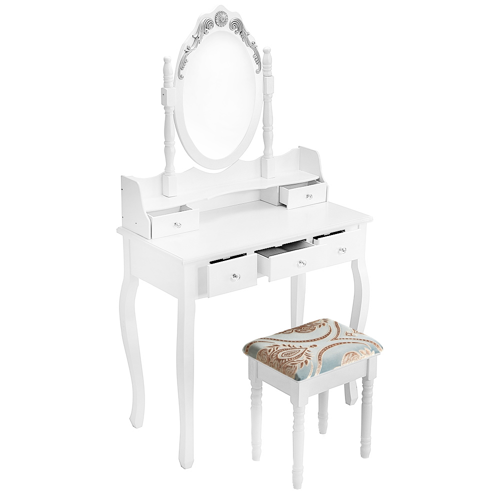 Wooden Dressing Table White Pine Makeup Desk With Stool Oval Mirror 5 Drawers HOT SALE bedroom home furniture dresser table with 2 drawers mirror and stool neoclassical style kd packaged wooden carved materials