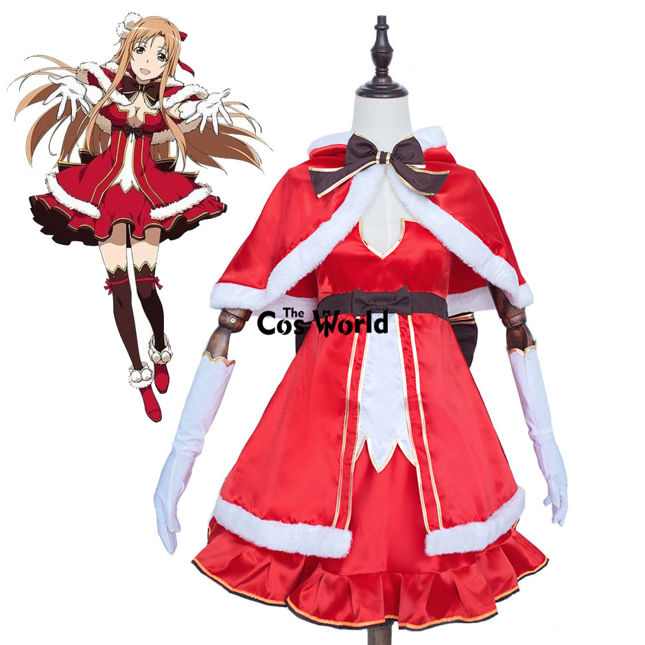 Sword Art Online Yuuki Asuna Xmas Christmas Tops Dress Uniform Cloak Outfit Anime Cosplay Costumes rolecos brand japanese anime sword art online cosplay costume asuna yuuki full set women cosplay costumes