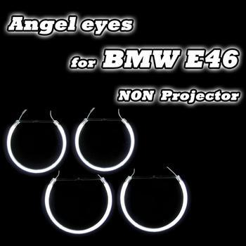 Dobrej jakości 2*131mm + 2*146mm dla BMW E46 reflektory projekcyjne Halo pierścienie CCFL Angel Eyes zestaw drl biały 4 pierścienie tanie i dobre opinie AE-CF-E46NP E46 Non-projector headlight Not Included 95-05 600Lm
