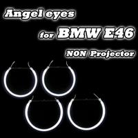 Good Quality 2*131mm+2*146mm For BMW E46 Non projector Headlights Halo Rings CCFL Angel Eyes DRL Kit White 4 Rings