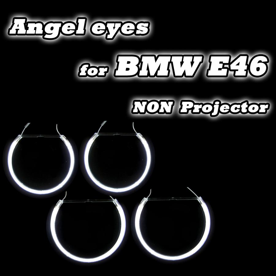 Good Quality 2*131mm+2*146mm For BMW E46 Non-projector Headlights Halo Rings CCFL Angel Eyes DRL Kit White 4 Rings