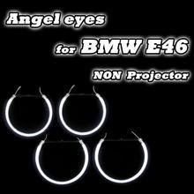 Gute Qualität 2*131mm + 2*146mm Für BMW E46 Nicht projektor Scheinwerfer Halo Ringe CCFL Engel Augen DRL Kit Weiß 4 Ringe