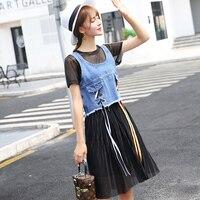 Mulheres Verão Suspensórios Vestido de Chiffon Denim Patchwork lolita vestidos na altura do joelho borla plissada tanque vestido estudante vestidos mujer