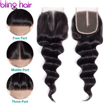 Bling Hair Brazilian Loose Wave Human Hair Closure With Baby Hair 4*4