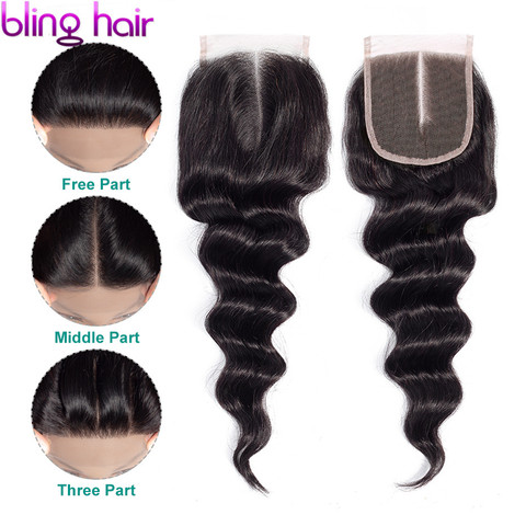 Bling Hair Brazilian Loose Wave Human Hair Closure With Baby Hair 4*4 Free/Middle/Three Part 100% Remy Hair Natural Black Color Pakistan