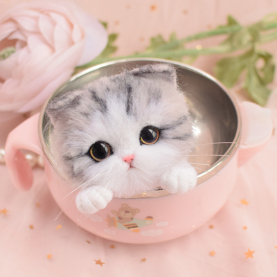 Non woven fabric rubbing joy cat brooch poking joy material bag DIY wool felt doll pendant gift box handmade in DIY Package from Home Garden
